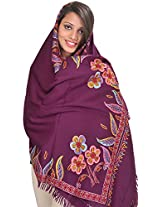 Exotic India Stole from Kashmir with Ari Hand-Embroidery on Border - Color Purple PotionColor Free Size