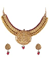 Jeweleteria Jade Stones Gold Plated Metal Alloy Necklace Set For Women