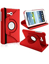 """Elite Flip Case Book Cover 360 Degree Samsung Galaxy Tab 3 Neo T111 T110 7"""" Tablet (Red) + Stylus"""