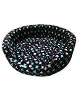 Dog Bed Basket Black With Stars Medium