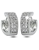 Ashiana 925 Sterling-Silver and Cubic Zirconia Studded Hoop Earring for Women
