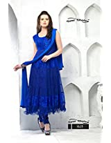 Anrkali Dress Brasso and Net Beautiful Blue Semi Stiched Suit