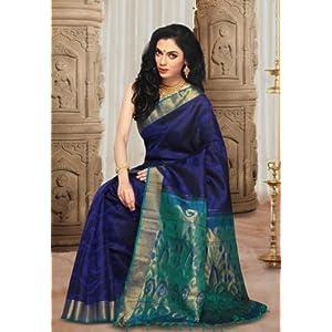 Navy Blue Pure Handloom Kanchipuram Silk Saree with Blouse