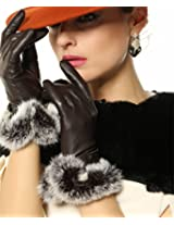WARMEN Luxury Genuine Soft Nappa Leather Gift Gloves with 100% Rabbit Fur Cuff (L, Brown (Style C ))