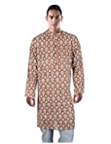 Indian Cotton Damask Kurta Brown Printed Medium For Men By Rajrang