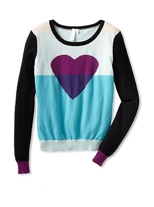 Shae Women's Colorblock Heart Sweater (Aqua Marine/Multi)