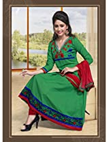 Cotton Embroidered Green Unstitched Anarkali Suit - FSQ551