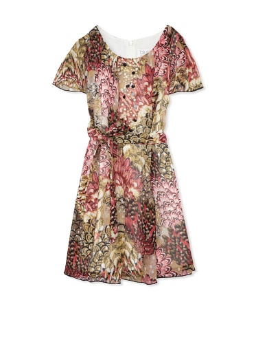 Blush by US Angels Girl's Printed Chiffon Dress (Feather)
