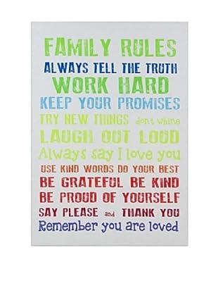 Lienzos Decoración Vertical Family Rules Blanco