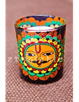EthniChic Hand painted Sun God Votive Holder