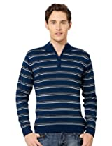Peter England Striped Crew Neck Sweater