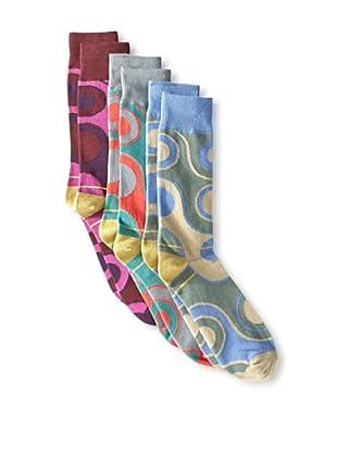 Florsheim by Duckie Brown Men's Circles Socks (3 Pairs) (Dusty Rose/Grey/Sky)
