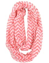 Cotton Cantina Soft Chevron Sheer Infinity Scarf (Coral/White)