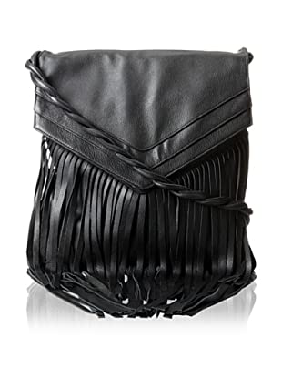 JJ Winters Women's Jane Messenger Bag with Fringe, Black