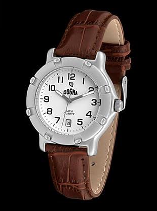 Dogma G1012 - Reloj de Caballero movimiento de quarzo con correa de piel marrón