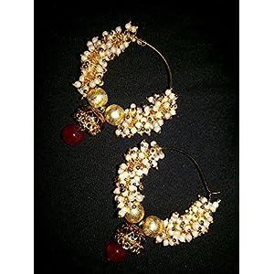 Pearl hoop ear rings with meenakari jhumka