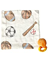 Stephan Baby Sports Fun Fleece Blankie and Plush Basketball Rattle Gift Set