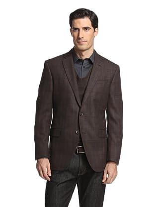 Jack Victor Studio Men's Plaid 2-Button Sportcoat (Brown)