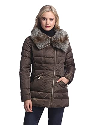 Vince Camuto Women's Down Jacket with Faux Fur Collar (Olive/Brown Faux Fur)