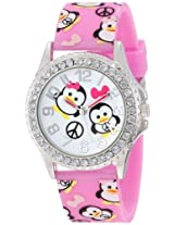 Frenzy Kids' FR804B Penguin Print Pink Analog Watch