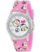 Frenzy Kids' FR804B Penguin Print Pink Analog Watch