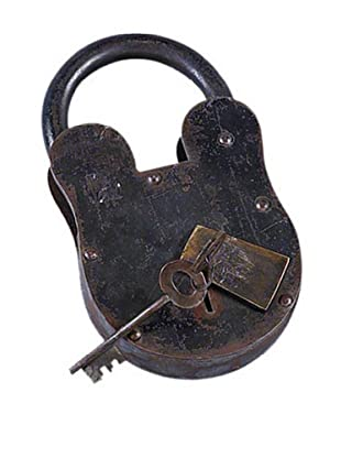Antique-Inspired Metal Padlock and Key