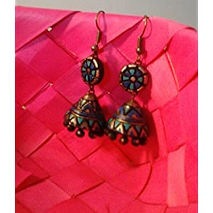 Artistri Turquoise blue and green conical geometric jhumkas with round bead and hooks