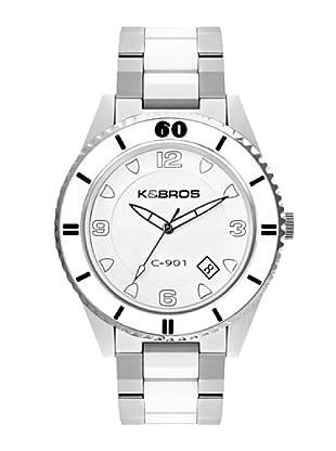 K&BROS 9113-2 / Reloj Unisex  con brazalete metálico Blanco