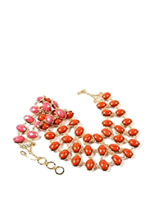 Amrita Singh Collar Hampton Reversible Bib Coral / Fucsia