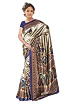 Kothari Printed Saree (KT0099_Beige Navy Blue)