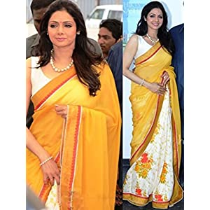 Latest sridevi yellow half half printed saree-Frinkytown