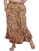Exotic India Leopard-Skin Midi Crinkled Skirt with Gota Border - Brown