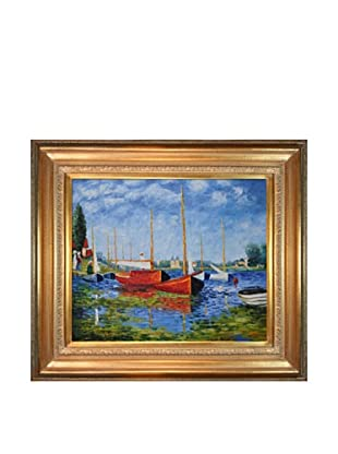 Claude Monet Red Boats at Argenteuil Framed Oil Painting