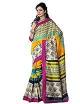 Riti Riwaz Multi Bhagalpuri Silk Casual Saree with Unstitched Blouse NRV6503A
