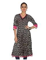 Rajrang Women's Printed Long Kurti (TOP05056_Black_Small)