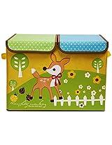 UberLyfe Foldable Kids Storage Box Organizer- Double Flap - Large (Deer)