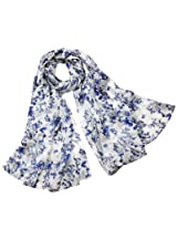 Dahlia Women's Long Silk Scarf Blue White Floral Print - White