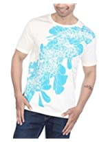 PS Men's C-Neck T-Shirt With Art Print - White, X- Large