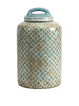 Haani Hand-Painted Jar, Blue/Natural