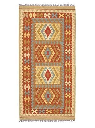 Hand Woven Izmir Kilim Dark Wool Kilim, Dark Copper, 3' 5