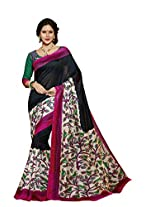 Abida Printed Black Color Bhagalpuri Art Silk Saree With Blouse Piece
