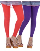 Nakhrali Women's Cotton Slim Fit Elite Ankle Length Leggings ( Pack of 2) (NKE-AL-CP02, Red , Violet, XX-Large)