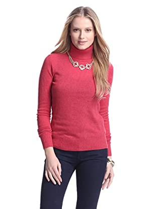 Cashmere Addiction Women's Long Sleeve Turtleneck Sweater (Lipstick)