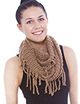 Women Winter Fashion Knit Tassel Fringed Circle Loop Infinity Scarf