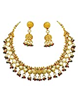Surat Diamond Traditional Red, Green & White Stone & Gold Plated Necklace & Zumkha Earring Fashion Jewellery Set for Women (PS278)