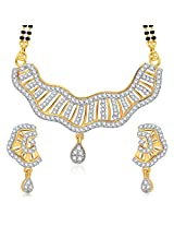 Meenaz Mangalsutra For Women Jewellery Set With Earring Gold Plated Cz In American Diamond MSPT186