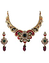 Vivanta Multi-Coloured Gold Plated Necklace And Earrings Set For Women (VD-N107)
