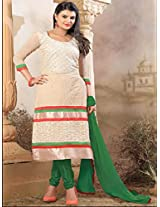 New Arrival dark White With Green Anarkali Suit
