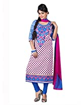 Admyrin Women's Multi Colour Cotton Embroidered Salwar Kameez