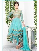 Passion Sky Blue Color Party Wear Designer Long Length Anarkali Suit